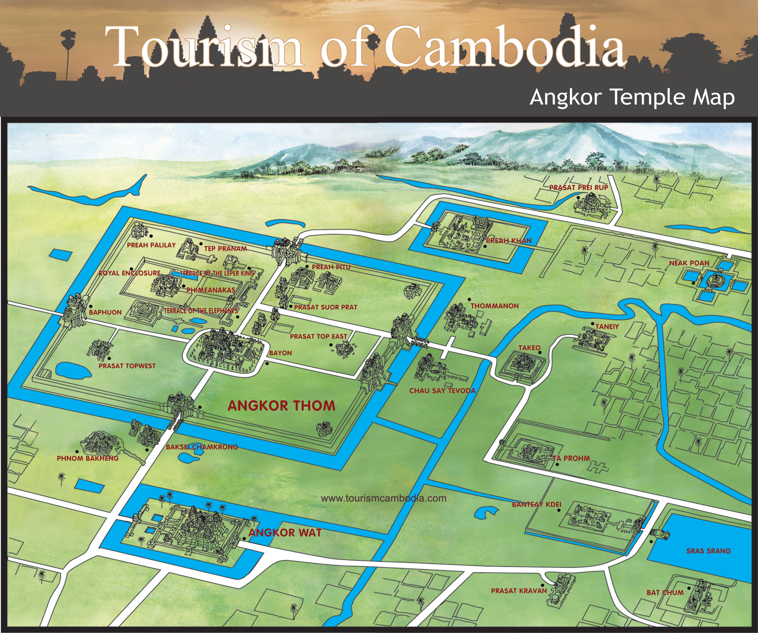 angkor wat karte Angkor Temple Map   Cambodia Travel Maps   Plan Your Trip to
